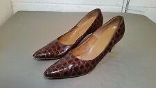 vintage alligator grain women's pointy toe pumps shoes ~ size 9