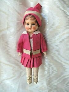 """PERKY 16"""" FLAPPER DOLL, CELLUOID & CLOTH, Vintage 1920-30"""