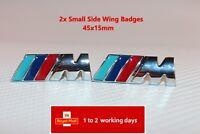 2 x ///M Sport Small Emblem M Power Badge Metal Chrome Wing Sticker