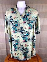 ME MODERN EDGE Men's Fish Shirt Size Large Short Sleeve Soft Breezy 100% Rayon