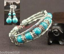 Ladies Bangle Tibetan Silver Blue Turquoise Woman Bracelet Earrings Set