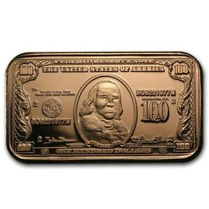 1 oz Copper Bar - $100 Ben Franklin Note
