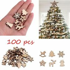 100pcs Christmas Decoration Snowflake Tree Deer Natural Wooden Hanging Ornaments