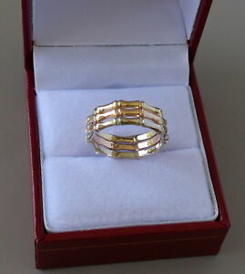 14K TRI COLOR GOLD BAMBOO WEDDING BAND 6.7 MM SIZE 6