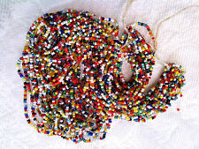 "Vtg 2 HANKS OLD VENICE ""CARNIVAL"" MULTI-COLOR GLASS SEED TRADE BEADS #101412a"