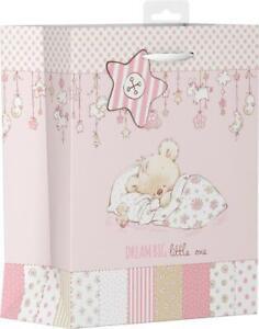 Girls Pink Baby Shower Gift Bag Medium Teddy Asleep Dreaming Mum To Be Luxury