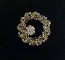 "vintage Weiss gray-green smoky rhinestone 1.75"" silver tone brooch"