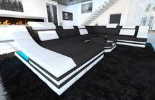Stoff Couch Wohnlandschaft Design Sofa TURINO XXL mit LED Beleuchtung Ottomane