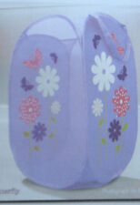 Kids Childrens Laundry Basket Dirty Clothes Pop up Fold Flat Cerise Pink Hearts