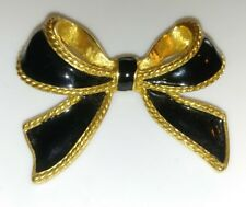Vintage K.J.L. Avon Kenneth Jay Lane Black Enamel Gold Tone Bow Scarf Enhancer
