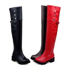 Punk Buckle Womens Outdoor Over Knee Boots Rivets Flat Heel Shoe Plus Size 34-52