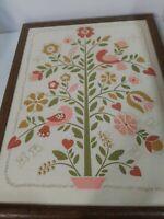 Vtg Floral and Birds Embroidery Embellished Framed Art 13 x 17