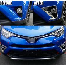 FOR 2016 2017 2018 TOYOTA RAV4 CHROME FRONT FOG LIGHT HEAD LAMP COVER TRIM BEZEL
