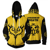 One Piece Trafalgar Law Cosplay Costume Tops Zip Hoodie Sweatshirt Jacket Coat