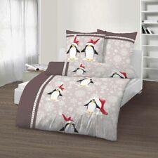 2 teilig Bettwäsche 135 x 200 cm Pinguin beige Fein Biber Baumwolle B-Ware