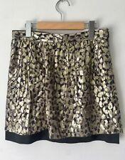 Club Monaco Gold Metallic Skirt Black Silk Mix Side Pockets Size 2