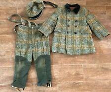 3 / 4 Green Tweed Vintage dress coat Child pants wool 1960s 3 pc set church