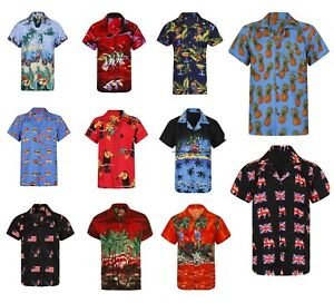 HAWAIIAN SHIRT MENS PALM TREE BEACH HOLIDAY PARROT FANCY DRESS STAG PARTY LOUD