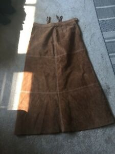 Vintage Tobacco Midi Suede A-Line Skirt, Size 14