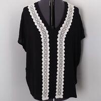 East Black V Neck Blouse Size L 16 18 White Embroidered Detail Sheer Crochet