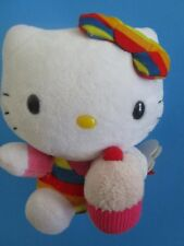 Ty Beanie Baby HELLO KITTY Cupcake Rainbow Overalls with Mint Tags 6 inches