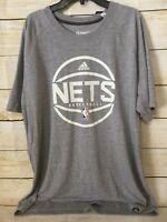 NWT Men's Adidas Brooklyn NETS Basketball NBA T-Shirt Gray XLarge XL