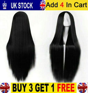 Long Synthetic Front Wig Heat Resistant Straight Hair Fashion Ladies Wigs Black