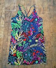 TopShop Black Multi Tropical Palm Leaf Print Sun Dress size 10 Beach Holiday