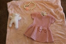 FIRST IMPRESSIONS PINK SILVER SPARKLE DROP WAIST SWEATER   DRESS NWT 6-9 MOS