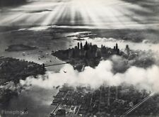 1931 Vintage 16x20 AVIATION AIRPLANE Aerial New York Sunset Clouds Landscape Art