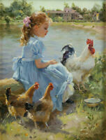 ZOPT1238 100% hand painted little girl rooster hens oil painting art on canvas