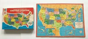 VINTAGE Authentic Map on Wood of the United States & World Map 1975 MB Puzzle
