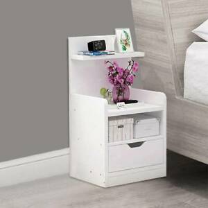 UK White Bedside Table Drawer Cabinet Bedroom Furniture Storage Nightstand Shelf