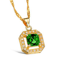 18K Gold Plated Necklace Pendant Green  AAA Cubic Zirconia Women' Singapore G158