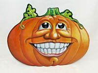 1998 Beistle Halloween Molded Plastic Smiling Pumpkin Fall Holiday Home Decor
