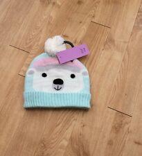 Girls Polar Bear Pom Pom Beanie Hat 3-6 Years BNWT