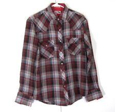 Vintage Pine Grove Flannel Long Sleeve Shirt Medium Red Plaid Grunge Lumberjack
