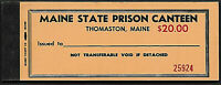 Maine Thomaston State Prison canteen Coupon book $20.00 FULL BOOK