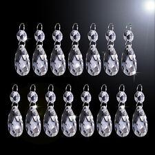 15Pcs Clear Glass Crystal Chandelier Lamp Part Drops Prisms Hanging Pendant 38mm
