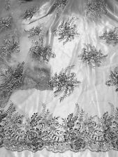 "GREY MESH W/EMBROIDERY PEARL BEADS & SEQUINS BRIDAL LACE FABRIC 52"" WIDE 1 YARD"