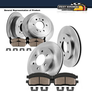 Front Rear Rotors Ceramic Pads Clips For 2004 2005 Infiniti QX56