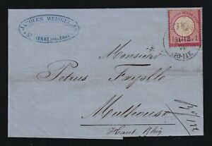 Germany Alsace 1874 1gr Large Shield Cover St Pierre Pres Barr to Mulhouse