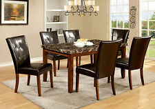 Dining Room Modern Antique Oak Dining Table Chair Faux Marble 7pc Dining Set New