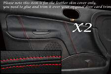 Rojo Stitch encaja Peugeot 206 98-10 2x Frontal Puerta Tarjeta Cuero Cubre 5 Puertas Modelo