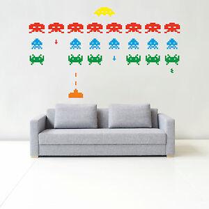 SPACE INVADERS RETRO wall sticker art - bedroom, gaming, video, kids, arcade G7
