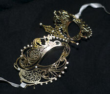 Metal veneciano dorado Máscara Carnaval Con Diamantes De Imitación Corte Láser