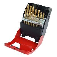 Metric HSS Drill Bit Set 19pc Titanium Coated 1-10mm In Metal Box 1 - 10mm  1813