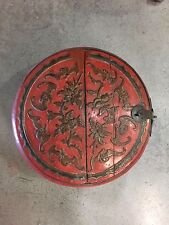 Antique Chinese Wood Round Box