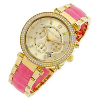 100% New Michael Kors Parker Chronograph Pink Acetate Women's Watch 39mm MK6363