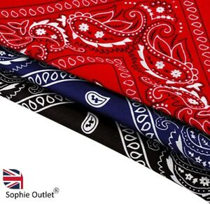 3 Pack 100% Cotton Paisley Bandana Scarf Headband  Black / Red / Navy Blue UK